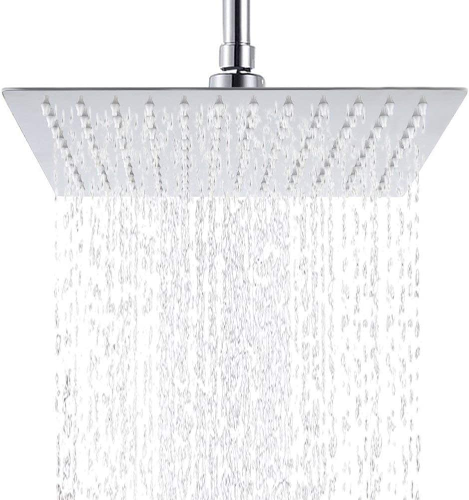Showerhead,12 Inch Shower Head Stainless Steel High Pressure Rainfall Ultra Thin Spray with Anti-Clog Silicone Nozzle,Chrome