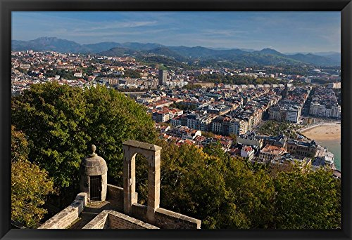 City View, San Sebastian, Spain by Walter Bibikow / Danita Delimont Framed Art Print Wall Picture, Black Frame, 39 x 27 inches by Great Art Now