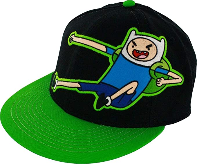 43521dd3810 Image Unavailable. Image not available for. Color  Adventure Time Finn Kick  Mens Black Flexfit Baseball Cap Hat