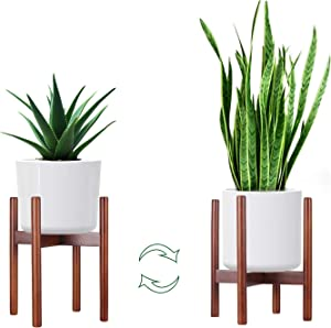 ANGELIOX Plant Stand,Mid Century Indoor Flower Pot Holder- Modern Potted Stand Display Rack for Home Décor, House Plant, Fit Pot Size of 8-10 inches(1 Pack, Pot Not Included)