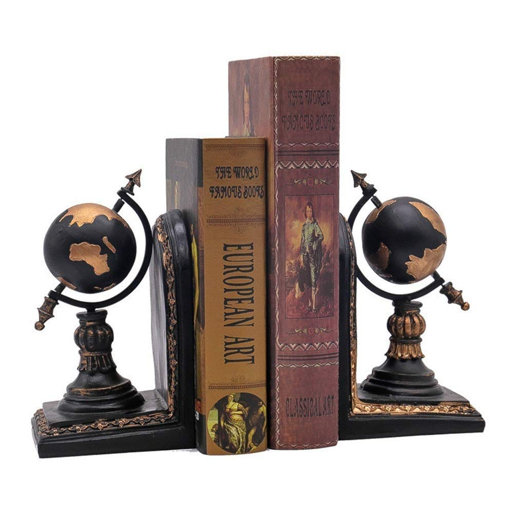 FASKT Globe Bookends, Book Ends Resin Decorative, Set of 2, Non-Slip Durable Sturdy Books Organizer for Bedroom Library Office School by FASKT