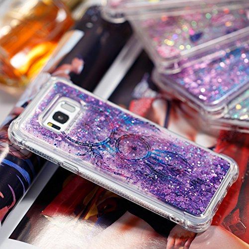 Funda para Samsung S8 Plus Carcasa Galaxy S8 Plus Anfire Bling Lentejuelas Líquido Suave Silicona Quicksand Cover Gel TPU Bumper Case Flotante Moviendo Estrellas Cubierta Anti-Gota Caso para S8 Plus A Campanula