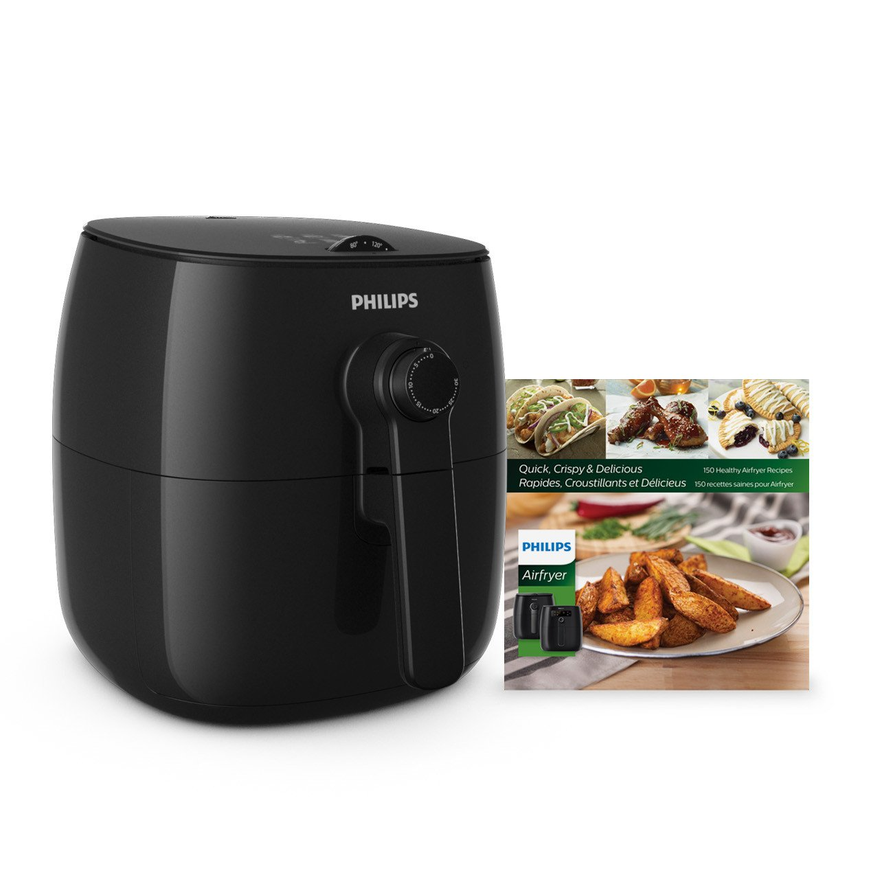 Philips Kitchen Appliances HD9621 99 Viva Philips TurboStar Airfryer with Cookbook, 5, Black