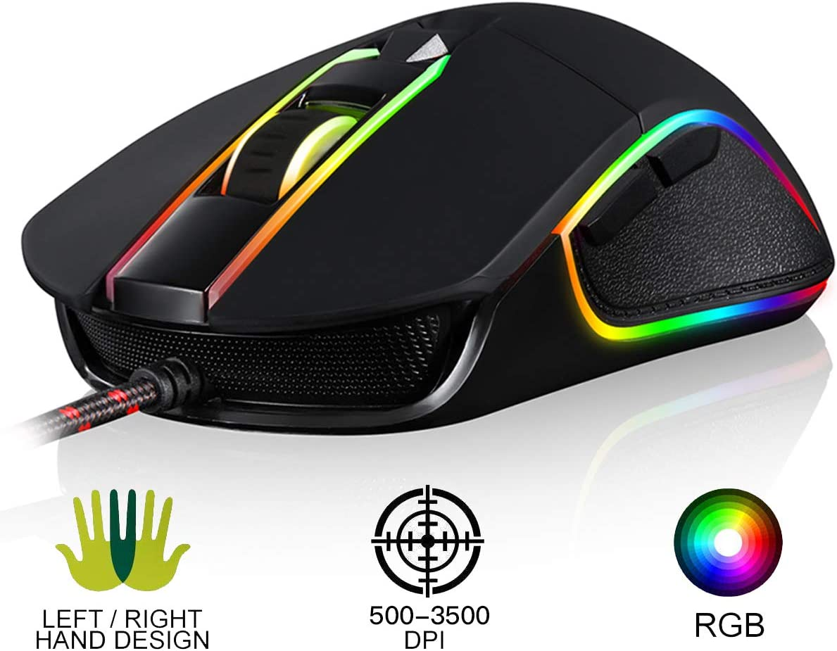 MOTOSPEED USB Wired 3500DPI Gaming Mouse Support Macro Programming, with 6 Buttons, Adjustable RGB Backlit, 6 Adjustable DPI Mouse for PC, Laptop, Apple MacBook