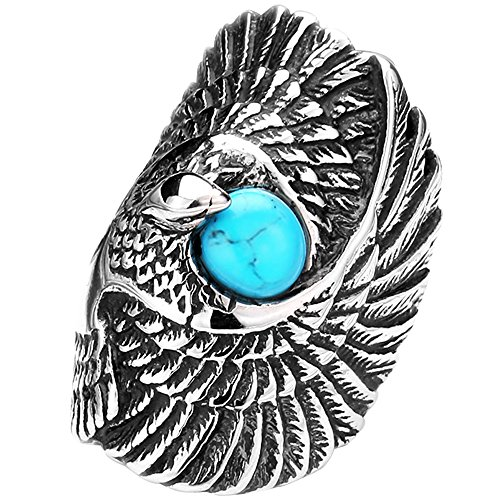 Mens Vintage Gothic Tribal Biker Large Eagle With Turquoise Stainless Steel Ring Band Silver Black Blue