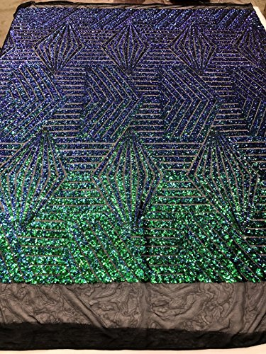 - Geometric 2 Way Stretch Sequins Fabric - Jade Blue Green - Shiny Iridescent Sequins Fabric Sold by The Yard