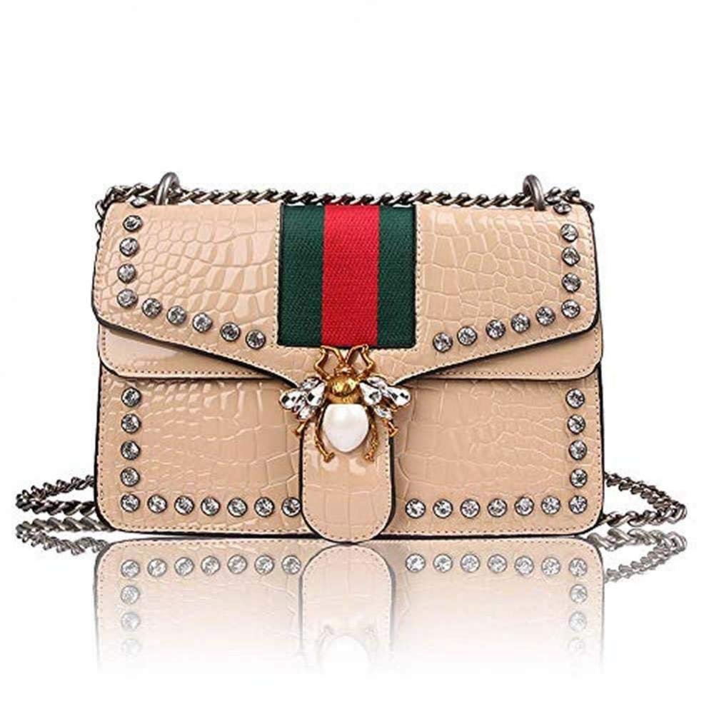 6efb150c07dd Designer Bee Crossbody Bag for Women Fashion Single Shoulder Bags with  Chain Messager Handbags (Khaki)