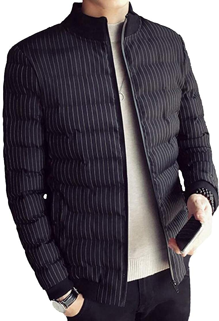 SHOWNO Men Mandarin Collar Quilted Regular Fit Vogue Striped Winter Down Parka