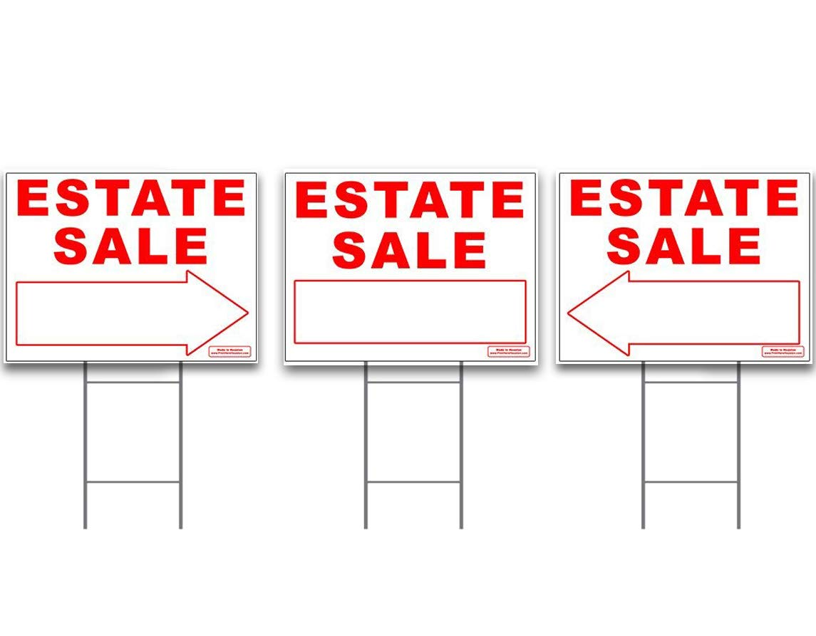 Large ESTATE SALE Signs Kit with Tall Stands - Yard Sign Bundle for Real Estate - 3 Pack - (1) 24'' x 18'' Yard Sign with (2) Directional LEFT or RIGHT Arrow + (3) 24'' Tall Wire Stakes
