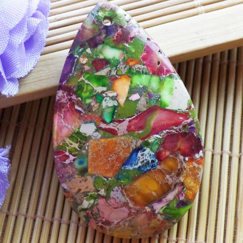 Yuteng Jewelry® Interesting Rainbow Sea Sediment Jasper & Pyrite Teardrop Pendant Bead (Jasper Teardrop Pendant)