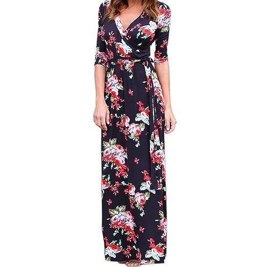 Amazon.com  iLUGU V Neck Long Sleeve Maxi Dress for Women Floral Print  Empire Line Ivory Dress  Clothing 9ffec1969a