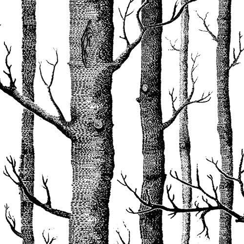 CUHAWUDBA Papier Peint Arbre de Bouleau Blanc Noir pour Chambre /à Coucher Design Moderne Salon Papier Peint Rouleau Papier Peint Bois For/êT Rustique