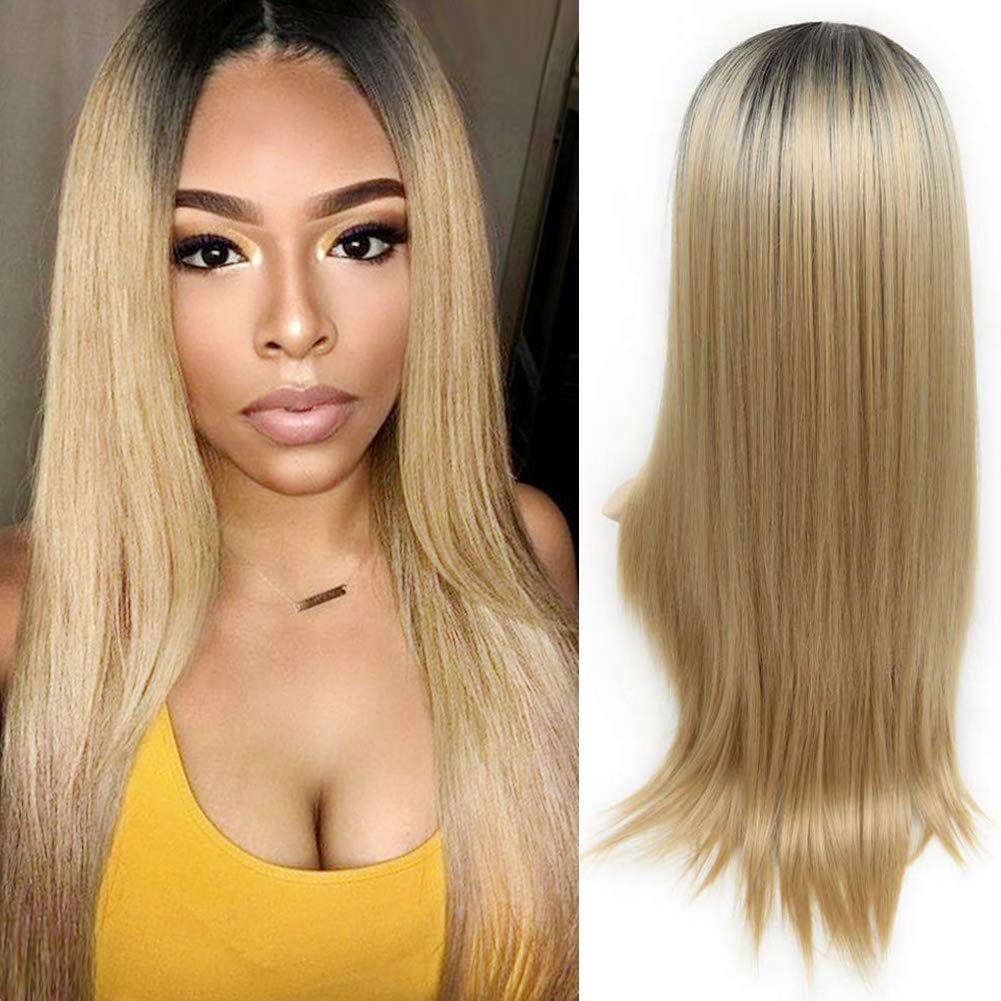 HANNE Ombre Color Long Straight Wig Heat Resistant Synthetic Hair Wigs for Women (1B/15LS)
