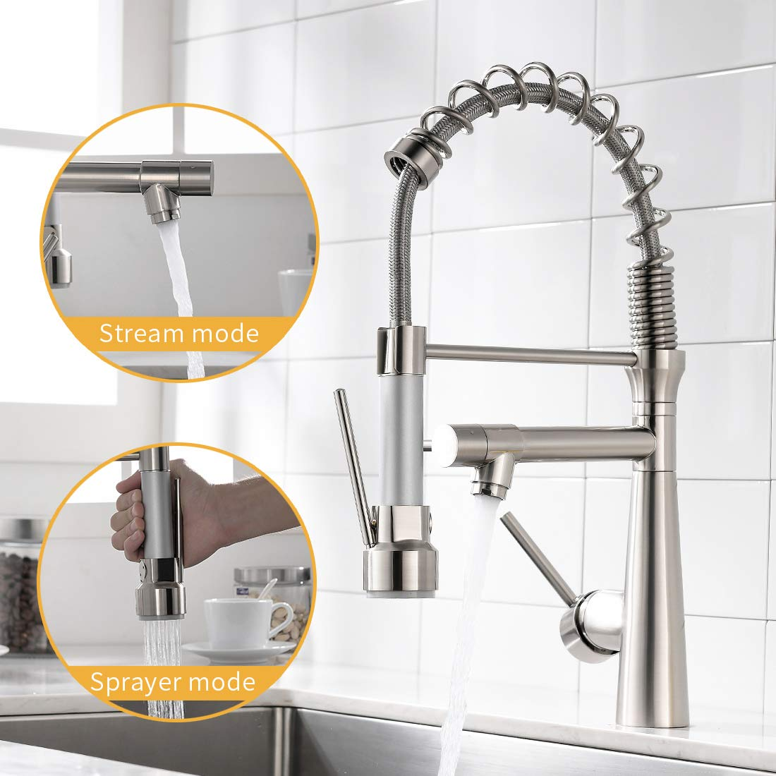 WANMAI Pull Down Sprayer Kitchen Faucet, Commercial Single Handle Kitchen Sink Faucets with Stream Spout & Ceramic Valve, Brushed Nickel
