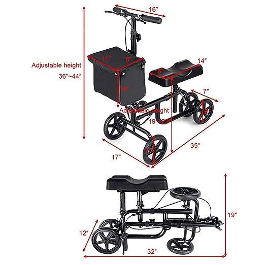 HSRG Andador de Rodilla de Edad Avanzada, Scooter médico Ajustable ...