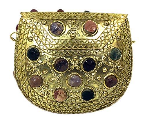 Batu Lee Stylish Handmade Antique Metal & Agate Clutch Purse Wallet hard Handbag with Strong Golden/Silver Chain Multi Elipse Shape for Women (Gold)