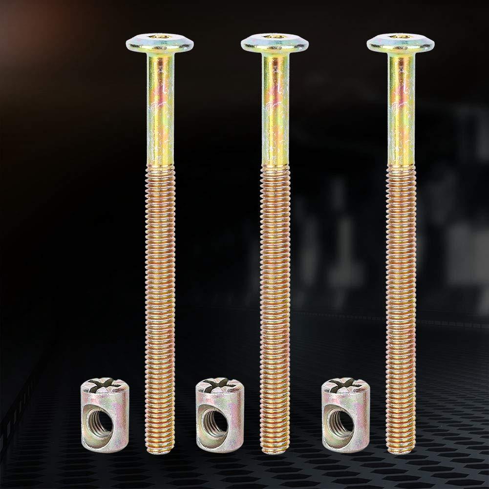 10 St/ück M/öbelschrauben aus M6-Kohlenstoffstahl mit Laufmuttern Passfedern 90mm M/öbelschrauben aus M6-Kohlenstoffstahl