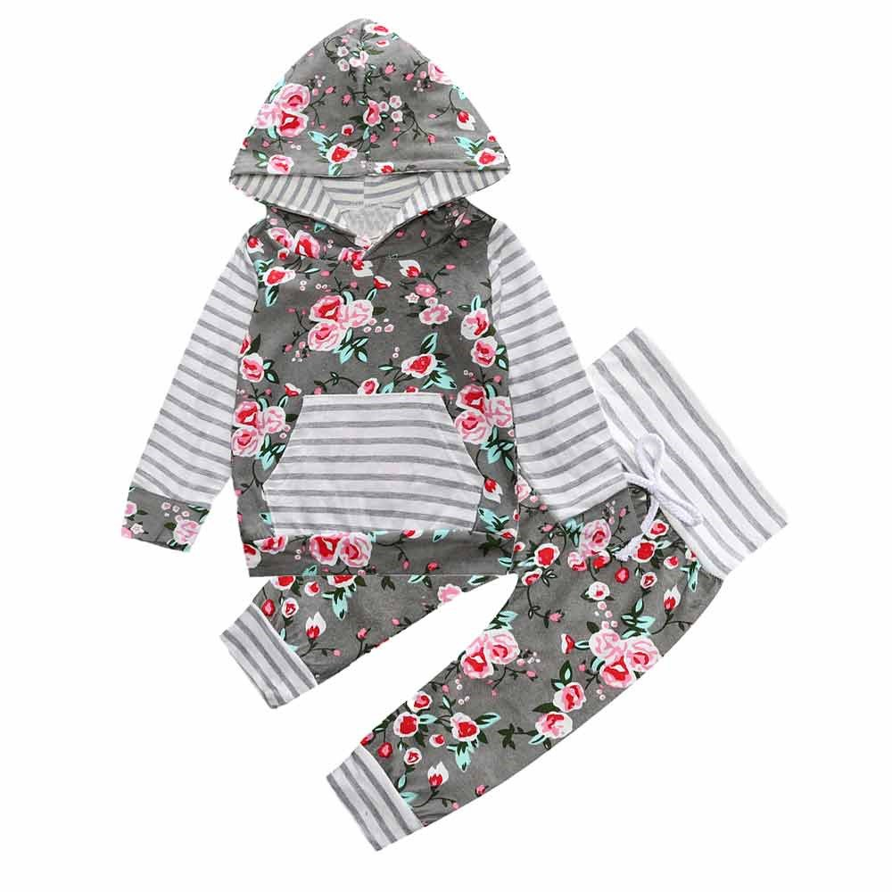 2PCS Toddler Kids Baby Girl Gray Floral Hooded Pocket Tops + Pants Set Mary ye