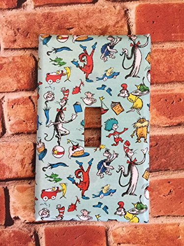 Dr. Seuss Cat In The Hat light switch plate cover home decor nursery wall outlet kids room Thing 1 Thing 2 (Height Wall Switch)