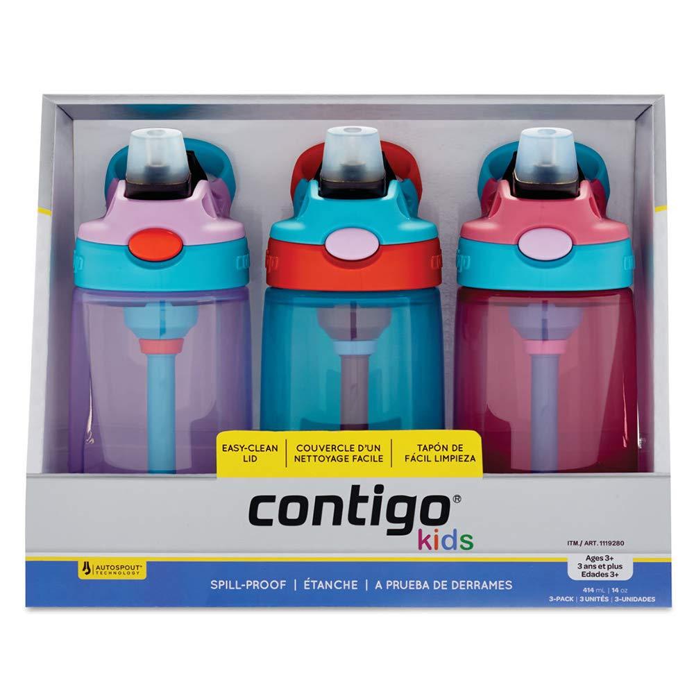 - 414ml // 14oz Contigo Kids Autospout Water Bottle Straw Gizmo Flip 3 Pack