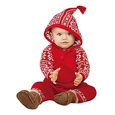Image result for squarex Sunny Baby Girls Boy Christmas Hooded Printing Romper Pajamas Outfits