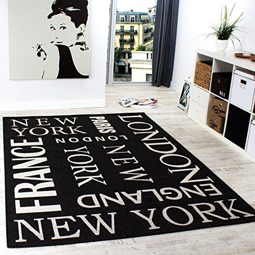 Teppich Modern City Sisal Optik Flachgewebe Designer Teppich in Anthrazit, Grösse:60x110 cm