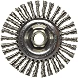 Weiler 13138 ROUGHNECK MAX 4'' Stringer Bead Wire Wheel, .020'' Stainless Steel Fill, 5/8''-11 UNC Nut, Made in USA