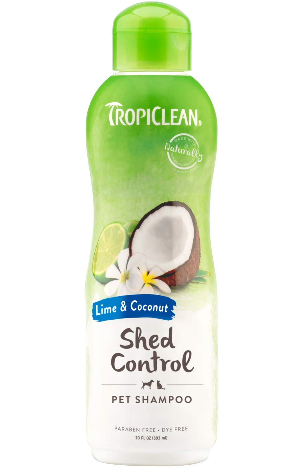 TropiClean Lime and Coconut Shed Control Shampoo for Pets, 20oz, Made in USA