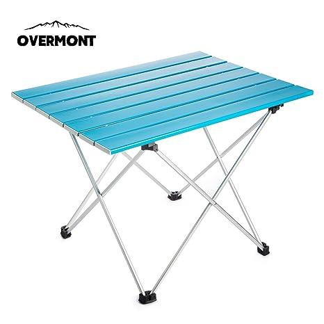 Overmont Mesa Tabla Plegable Portable de Aluminio Ultraligero para Camping jardín Senderismo Picnic Playa Viajes Pesca