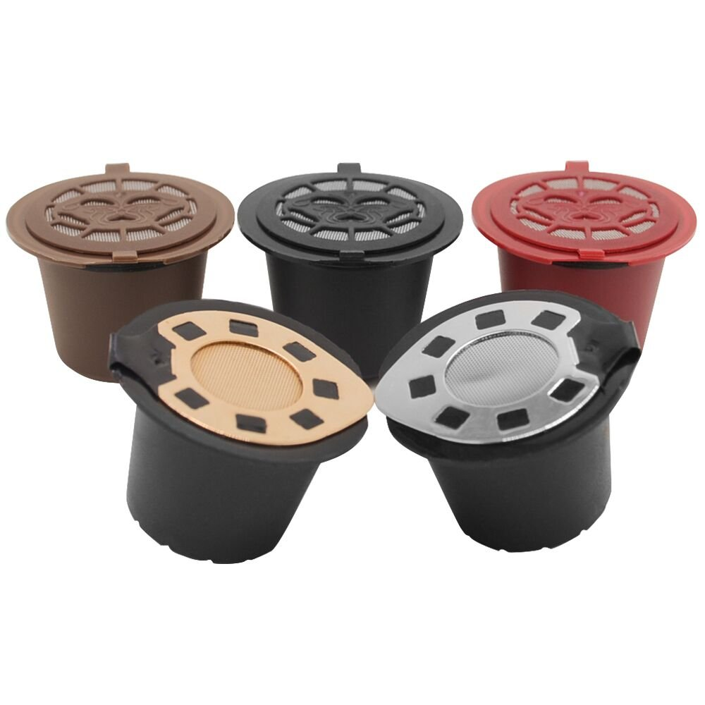 5 Reusable Capsules Refillable Coffee Filter Pod Nespresso Original Line + Brush + Spoon (Coffee)