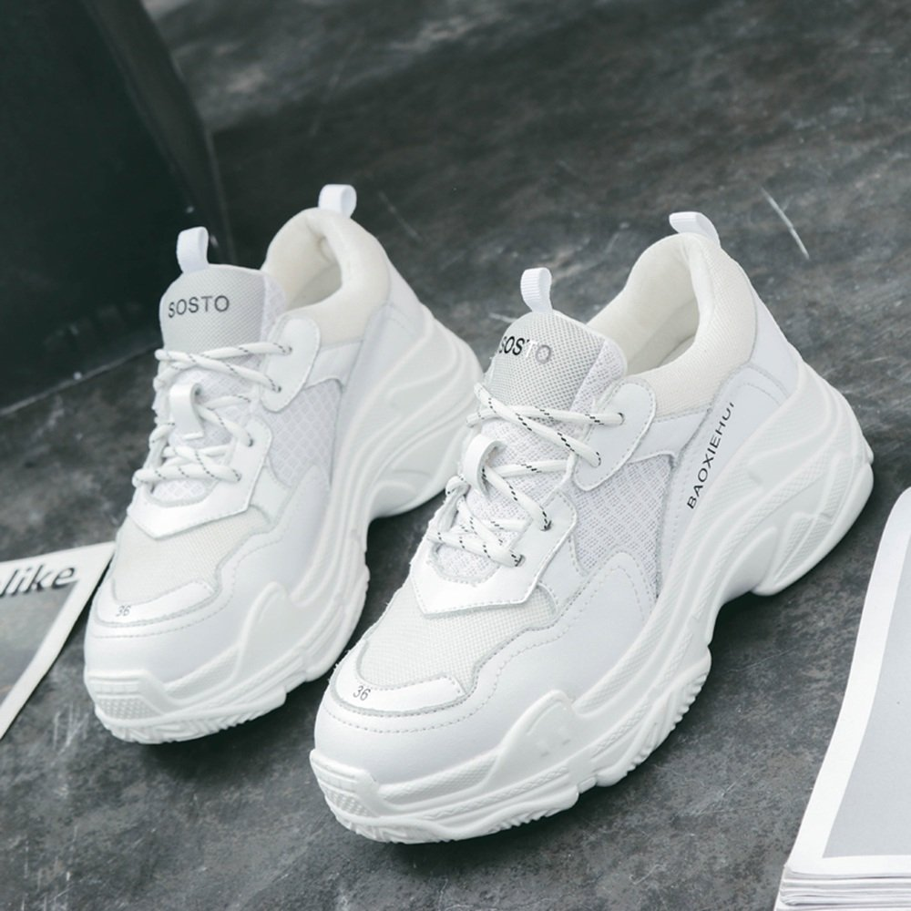 LVZAIXI Schuhe Ultra Feuer Schuhe Dicker Boden Sportschuhe Rosa Freizeitschuhe gemütlich ( Farbe   Weiß , größe   EU36 UK3.5 CN35 )
