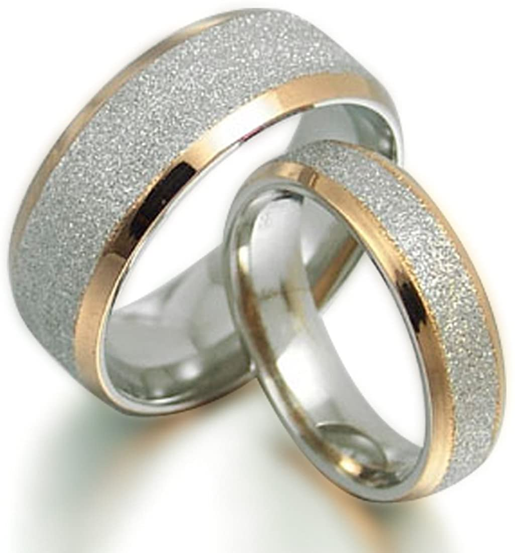 Groom & Bride 18K Gold Filled Matching Anniversary Valentine's Day Gift Wedding Titanium Rings Set, US size 3.5-16.5 (half sizes available)