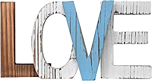 Love Rustic Decorative Letter Sign, Multi Colored Wood Cutout Block, Freestanding, Family Signs Decor