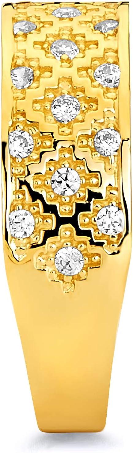 Wellingsale Mens 14K Yellow Gold Polished Diamond Cut CZ Cubic Zirconia Wedding Ring Band