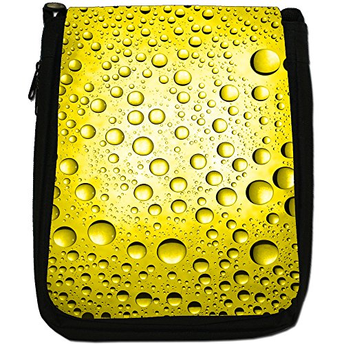 Canvas Water Size Black Medium Bag Coloured Droplets Yellow Shoulder w67xx