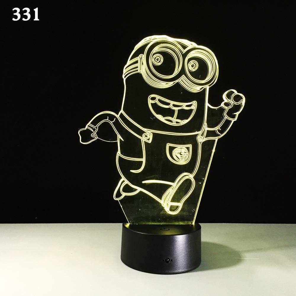Sproud Running Minions 16 control remoto en color 3D Illusion Lamp |Lámpara de mesilla de noche |Decoración del hogar de la habitación Luz nocturna led para niños Cumpleaños Regalos de Navidad