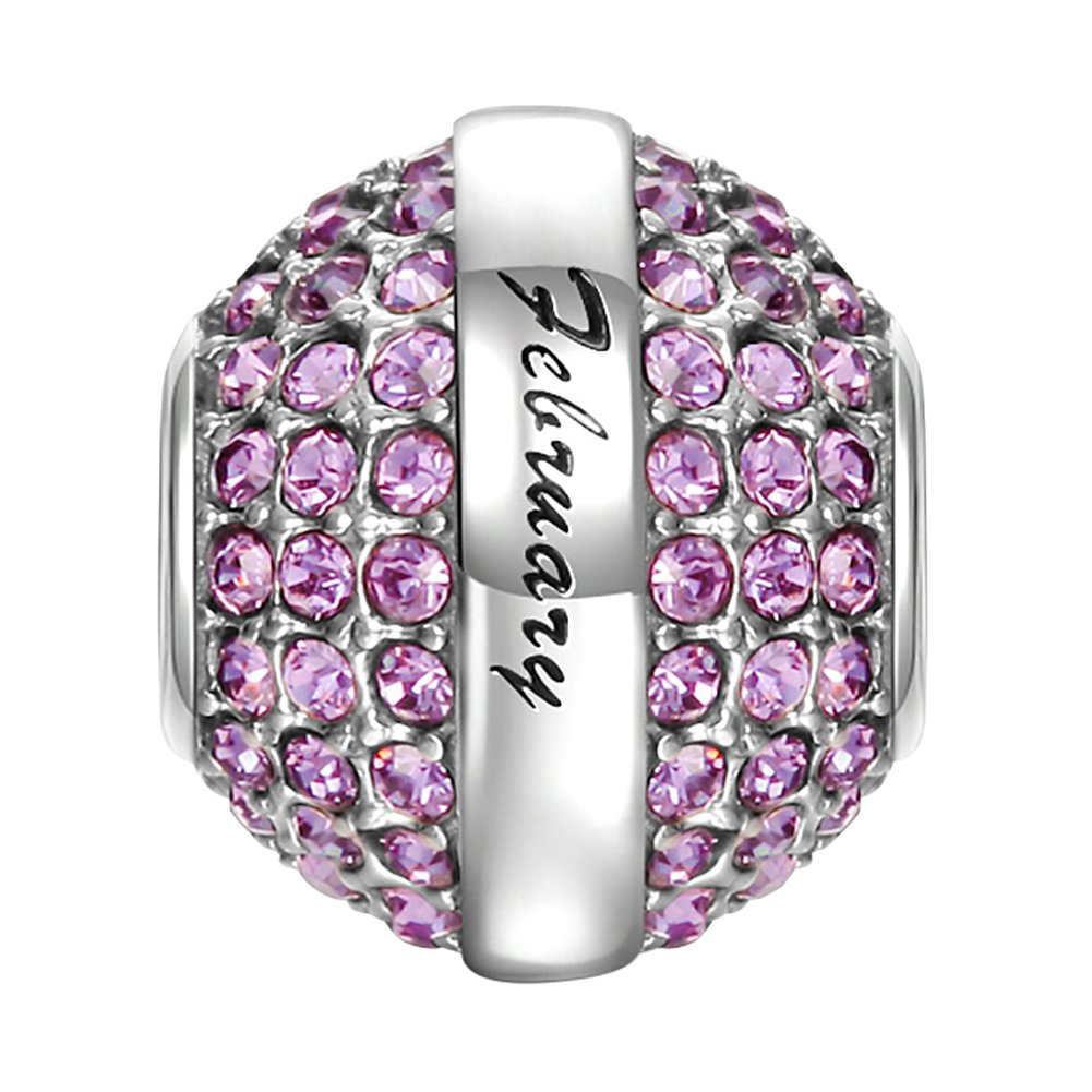SOUFEEL February Birthstone Charm Dark Purple Swarovski Crystal 925 Sterling Silver Charms Fit European Bracelet