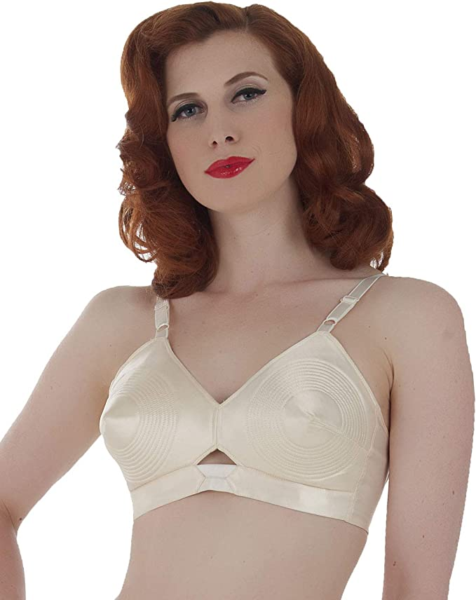 Vintage Lingerie | New Underwear, Bras, Slips What Katie Did Vintage Peach Satin Padded Bullet Bra L6035 £38.25 AT vintagedancer.com