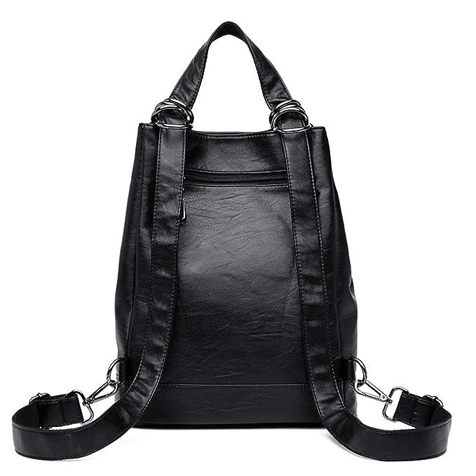 Amazon.com: Women Leather Backpacks Large Capacity Travel Rucksack Aancy Femme Female Vintage Backpack Ladies Bagpack School Bag: Computers & Accessories