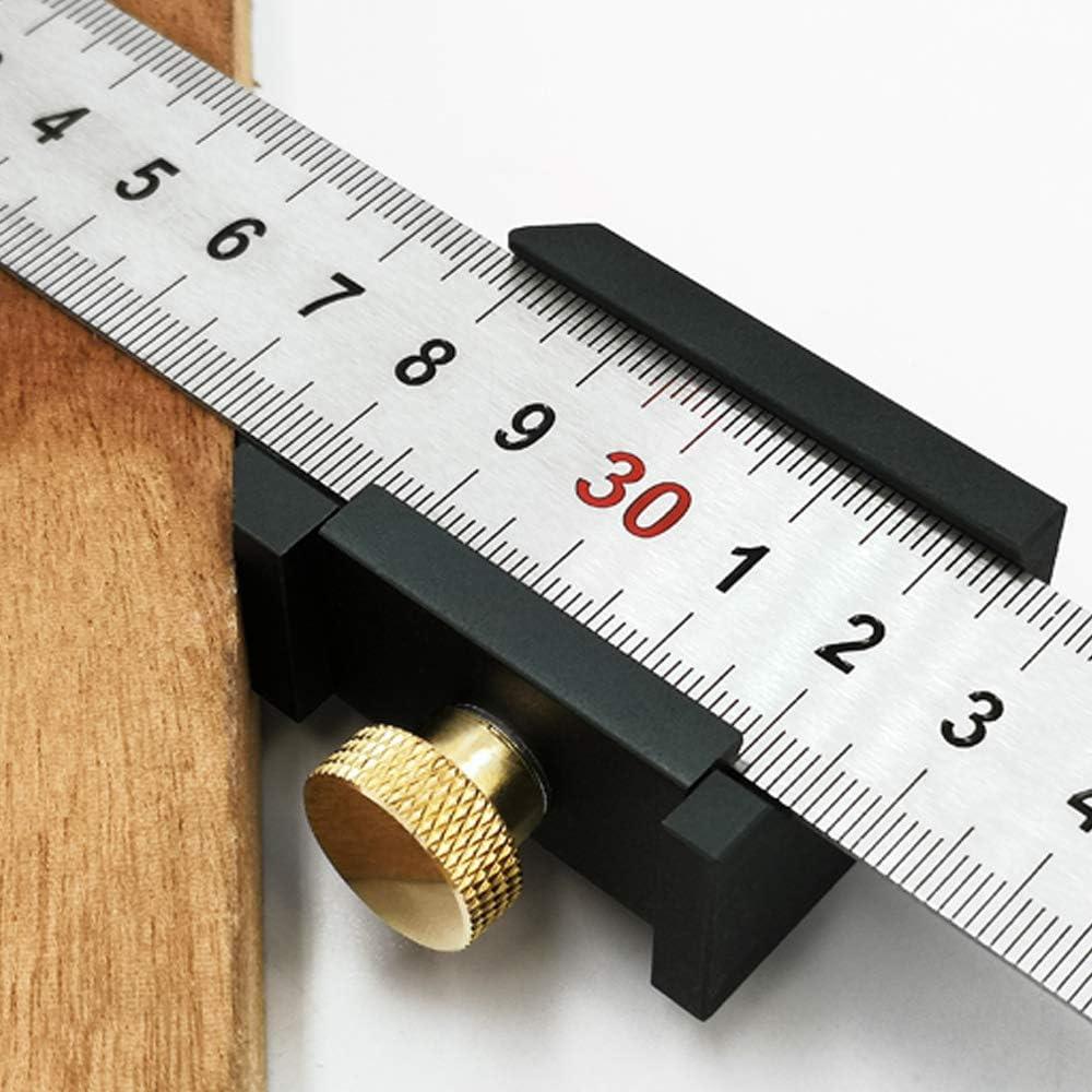 Leepesx Aluminiumlegierung Winkelschreiber Stahl Lineal Positionierblock Holzbearbeitung Linie Locator Stop Block DIY Messwerkzeug