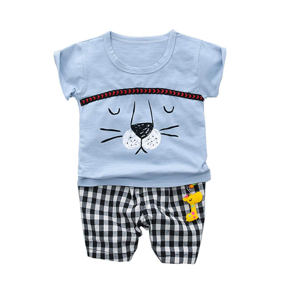 AIKSSOO 2Pcs Baby Boys Girls Outfit Set Cartoon Lion Tee Shirt and Plaid Shorts Set