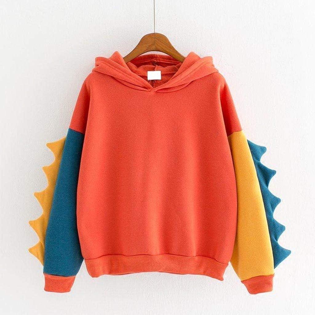 Women Hooded Sweatshirt Fashion Novelty Dinosaur Element Splice Long Sleeve Tees Tunic Tops Teen Girl Candy Color Cute Cartoon Design Casual Hoodie Sport Pullover T-Shirt Hoody Tracksuit