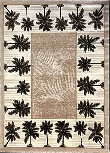 Palm Tree Modern Area Rug Tropical Beige & Green Design 729 (5 Feet X 7 Feet)