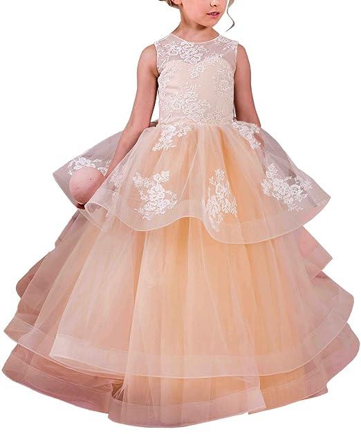 Amazon.com: abaosisters elegante vestido de niña de flores ...