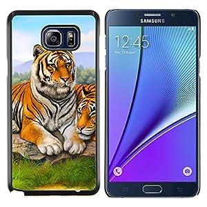 KLONGSHOP // Cubierta de piel con cierre a presión Shell trasero duro de goma Protección Caso - Tigre lindo pintura de la naturaleza animal de África - Samsung Galaxy Note 5 5th N9200 //