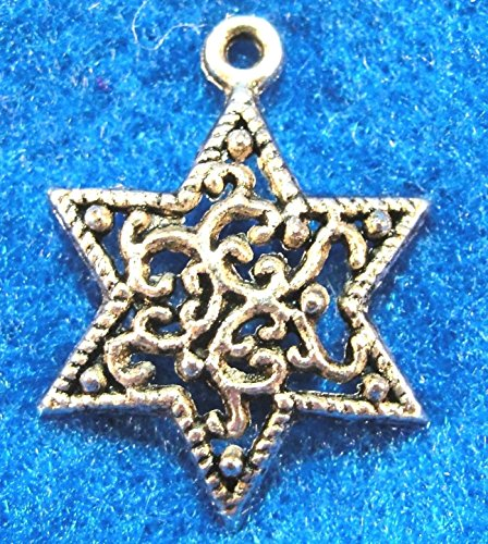 (10Pcs. Tibetan Silver Filigree Star Charms Pendants Earring Drops Findings ST12 Crafting Key Chain Bracelet Necklace Jewelry Accessories Pendants)