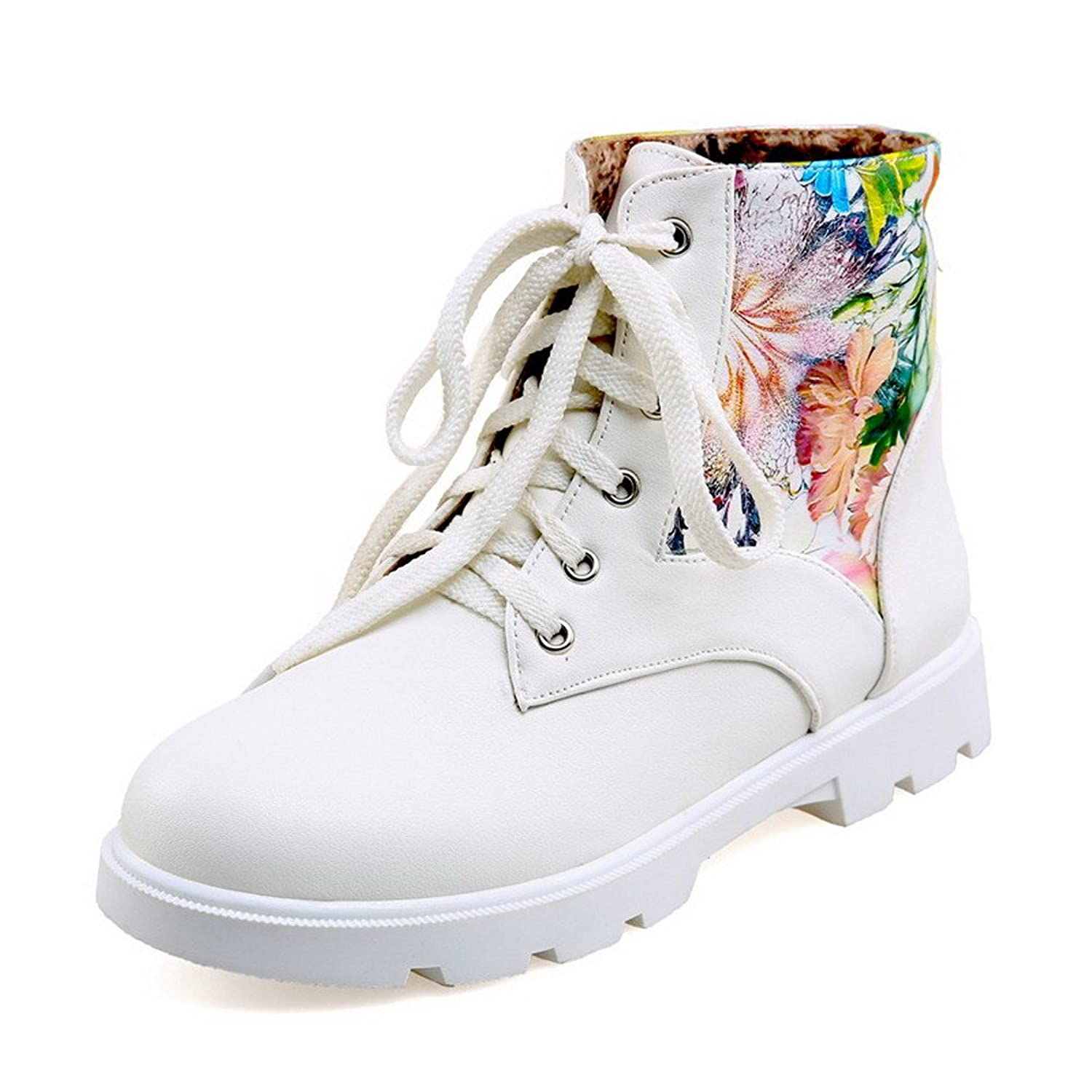 VogueZone009 Women's Soft Material Lace-up Round Closed Toe Low-Heels Low-top Boots