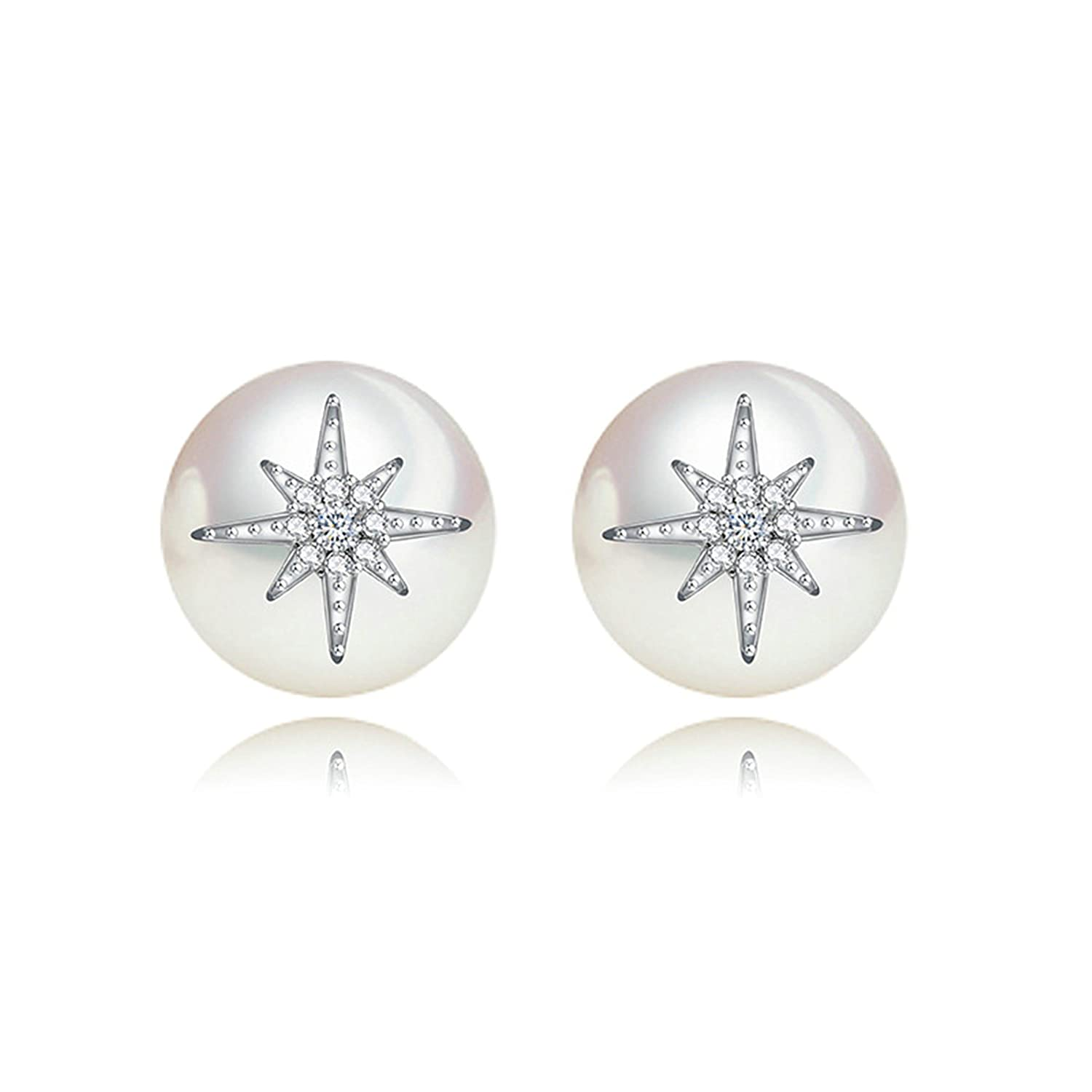 Gnzoe Jewelry Women White Gold Plated Piercing Stud Earrings White Cubic Zirconia Unique Round Pearl 9.5x9.5MM