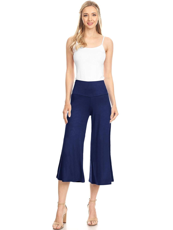 S~5XL Made By Johnny Womens High Elastic Waistband Wide Leg Palazzo Culotte Gaucho Capri Pants