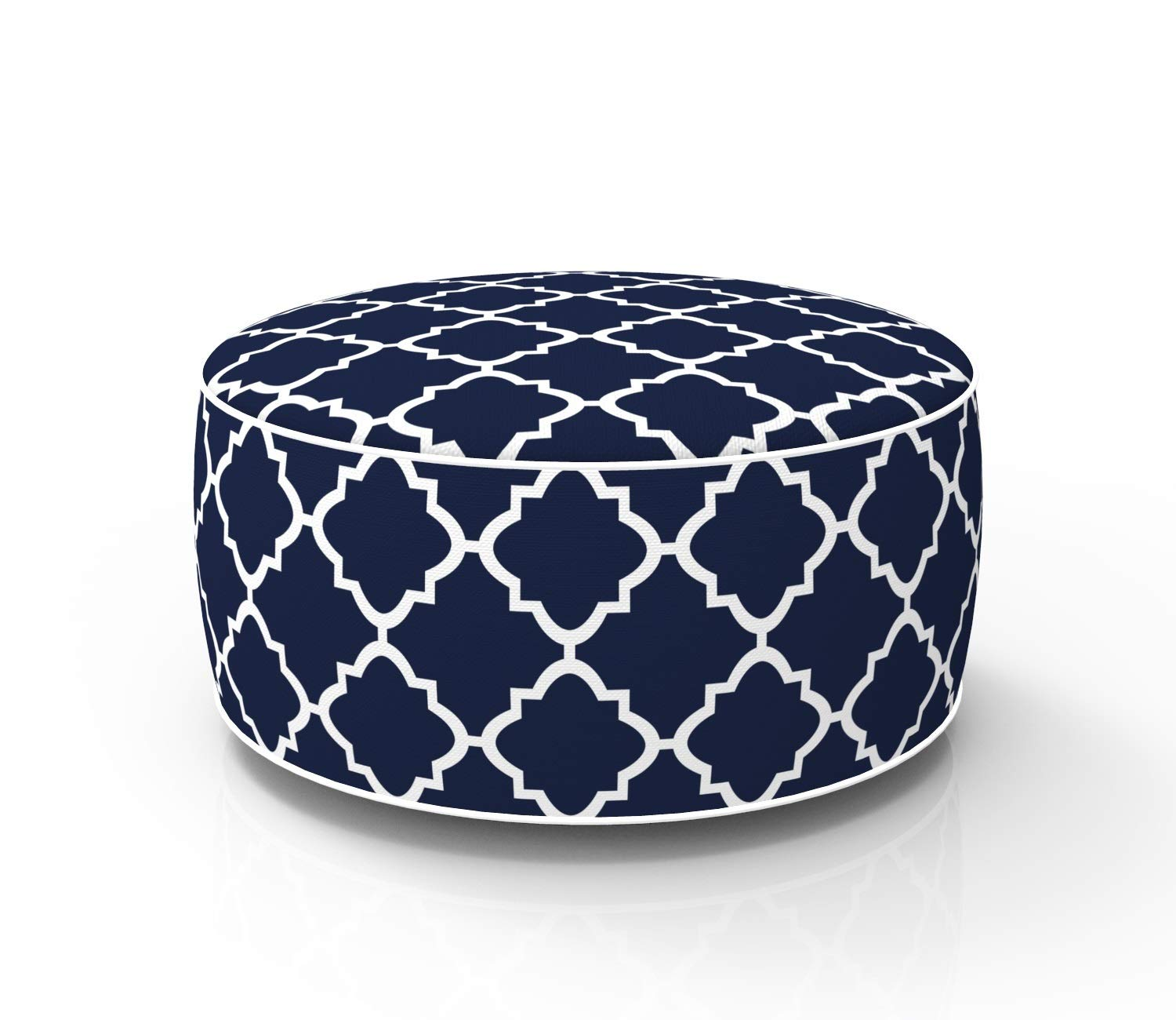 Fabritones Outdoor Inflatable Stool Navy Quatrefoil Lattice Round Ottoman Portable Foot Rest for Patio, Camping - Suitable for Kids and Adults